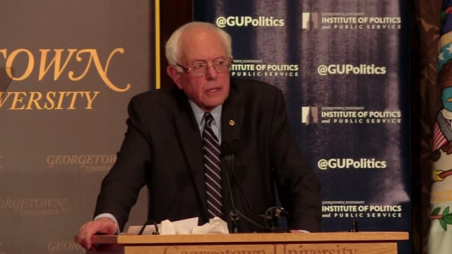 Democratic Socialist Bernie Sanders Senator from Vermont at Georgetown University on foreign policy after a long speech on the US economy In this...