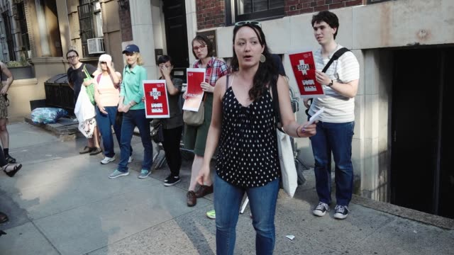 democratic socialists of america organized a rally titled 'emergency rally against trumpcare' the protestors gathered outside the nyc gop followed by... - emergency planning stock videos & royalty-free footage