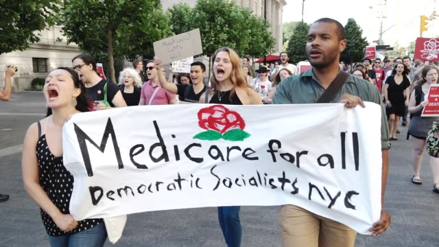Democratic Socialists of America organized a rally titled 'Emergency Rally Against Trumpcare' The protestors gathered outside the NYC GOP followed by...