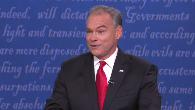 democratic vicepresidential nominee tim kaine and republican vicepresidential nominee mike pence during debate at longwood university in farmville... - business or economy or employment and labor or financial market or finance or agriculture stock videos & royalty-free footage