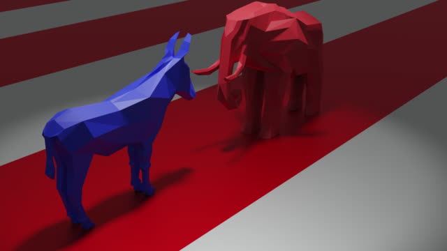 democrats vs republicans - partito repubblicano degli usa video stock e b–roll