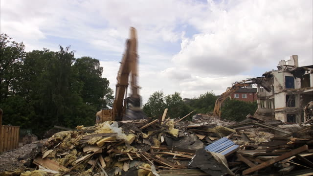 demolishing a house sweden. - crane construction machinery stock videos & royalty-free footage