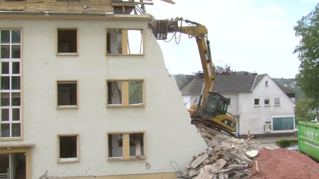 ms demolition of apartment block / saarburg, rhineland-palatinate, germany - bad condition stock videos and b-roll footage