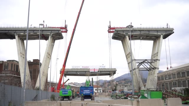 demolition of the morandi bridge begins at ponte morandi on february 09 2019 in genoa italy the bridge suffered a partial collapse on august 14 2018 - ponte stock videos & royalty-free footage