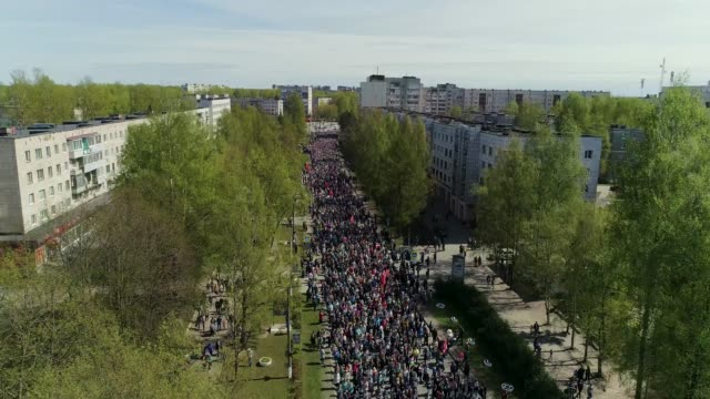 "demonstration in the russian city on "" victory day"" - armed forces stock videos & royalty-free footage"