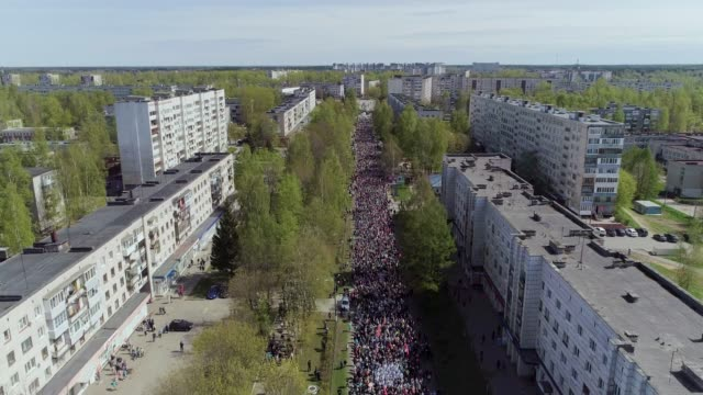 """demonstration in the russian city on """" victory day"""" - former soviet union stock videos & royalty-free footage"""