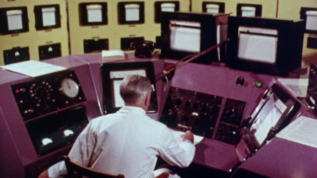 1957 montage demonstration of the safety measures taken to control a criticality reaction / united kingdom - physics stock videos & royalty-free footage