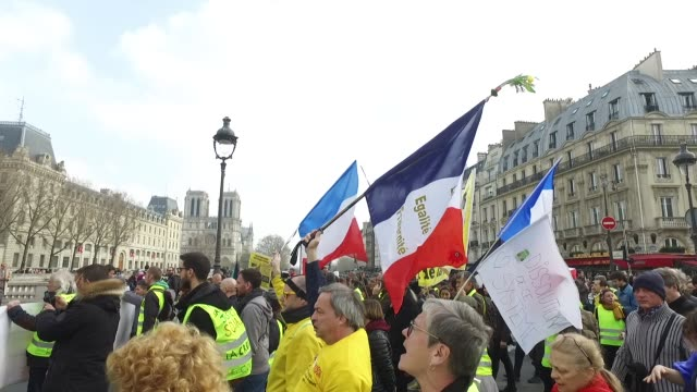 demonstration of yellow vests act XII with in the background the Notre Dame de Paris cathedral