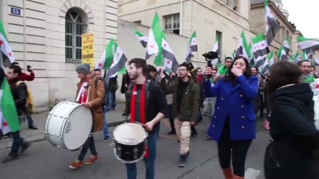 demonstration on the 6th anniversary of the syrian revolution in pantheon, paris on saturday 18, march 2017. iranian resistance members and... - pantheon paris stock videos & royalty-free footage