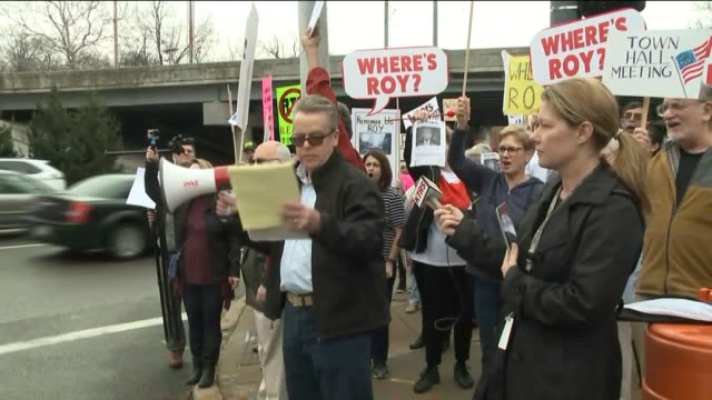 ktvi a demonstration organized by the group st louis indivisible on feb 21 2017 to encourage missouri senator roy blunt to hold a town hall meeting... - town hall meeting stock videos and b-roll footage
