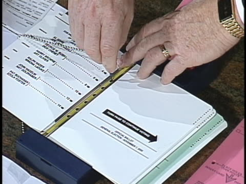 demonstration shows how a punch card ballot is used in the 2000 presidential elections in florida. - wahlschein stock-videos und b-roll-filmmaterial