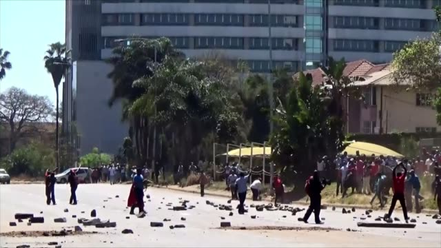 demonstrations continue as mugabe speaks at un zimbabwe harare ext various shots protesters in street burning tyres demonstrators hold up 'robert... - harare stock videos and b-roll footage