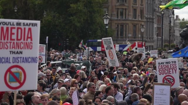 """demonstrators attend a """"we do not consent"""" anti-mask rally at trafalgar square on september 26, 2020 in london, england. thousands of anti-mask... - square stock videos & royalty-free footage"""