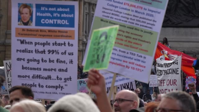 """demonstrators attend a """"we do not consent"""" anti-mask rally at trafalgar square on september 26, 2020 in london, england. thousands of anti-mask... - attending stock videos & royalty-free footage"""