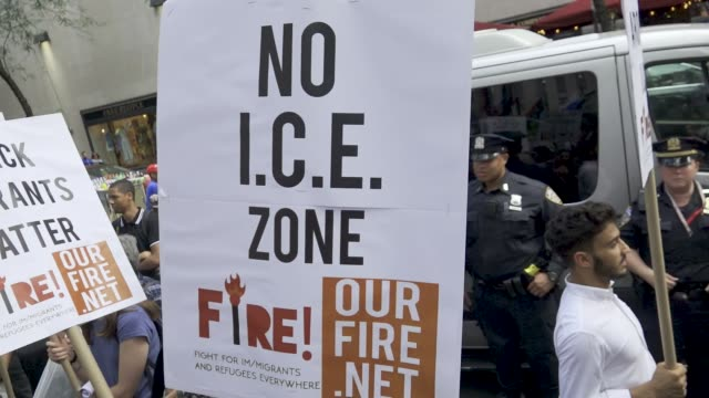 demonstrators from the organization fire interrupt the at manhattan's rockefeller plaza in new york city the event was held on the rink at... - fire department of the city of new york stock videos and b-roll footage