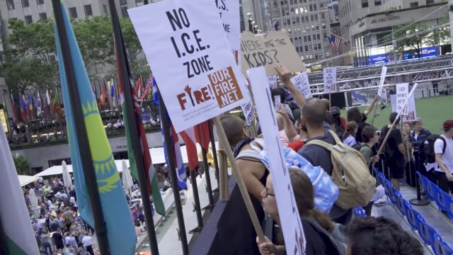 demonstrators from the organization fire interrupt the at manhattan's rockefeller plaza in new york city the event was held on the rink at... - fire department of the city of new york stock-videos und b-roll-filmmaterial