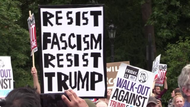 Demonstrators gather at the US ambassador residence in Regent's Park London as part of the protests against the visit of US President Donald Trump to...