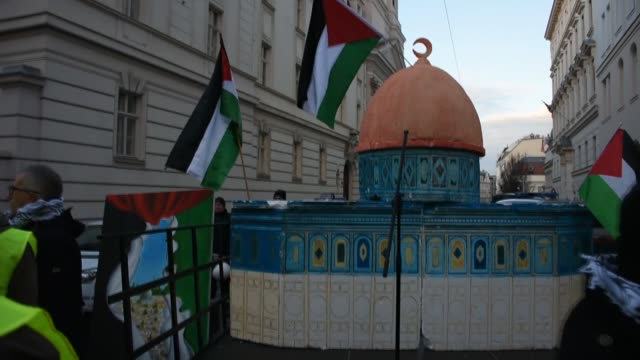 """Demonstrators gather in front of the US Embassy with banners saying """"No to Apartheid regime"""" 'Free Palestine' and 'No to the siege of Jerusalem' on..."""