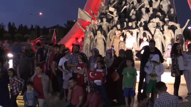Demonstrators gathered for 'democracy watches' ar the Presidential Complex as part of the July 15 Democracy and National Unity Day's events held to...