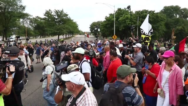 demonstrators hold antiviolence rally in chicago to ask for the resignation of mayor rahm emmanuel on august 03 2018 protesters marched down streets... - gun crime stock videos & royalty-free footage