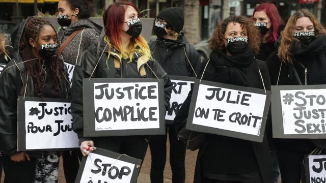 "demonstrators hold signs on which we can read ""justice accomplice"", ""julie we believe you"" during a demonstration of feminist collectives to demand... - partisan politics stock videos & royalty-free footage"