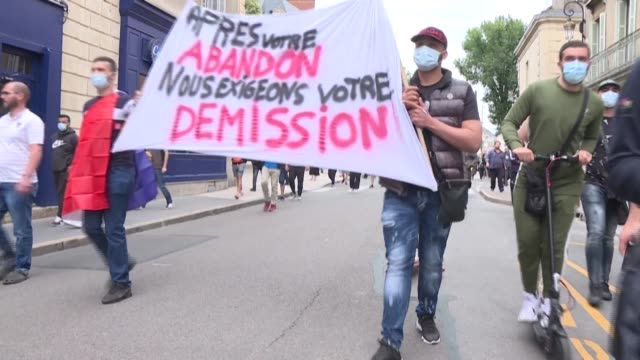 demonstrators in dijon ask for the resignation of the prefect of the côte d'or department, after recent tensions in the city, which began with a... - protestor stock videos & royalty-free footage