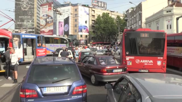 demonstrators leave their vehicles during a protest in belgrade serbia on june 08 2018 people are protesting high fuel prices saying that serbia has... - serbia stock videos & royalty-free footage