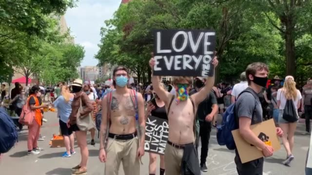 stockvideo's en b-roll-footage met demonstrators march down pennsylvania avenue during a protest against police brutality and racism on june 6 2020 in washington dc this is the 12th... - black lives matter