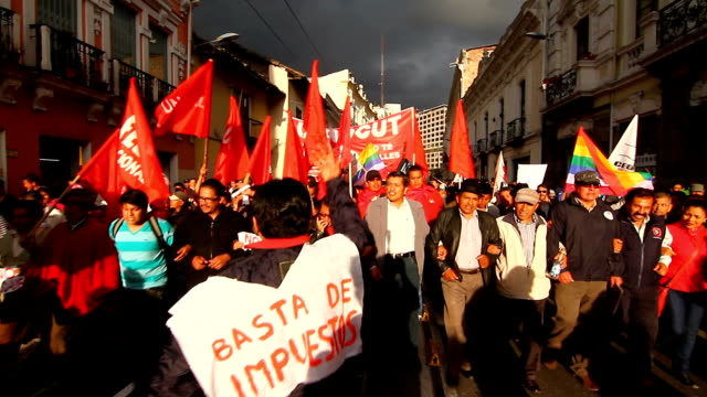 demonstrators marched in colonial town of quito against labor reforms of ecuadorian president rafael correa - ecuadorian ethnicity stock videos and b-roll footage