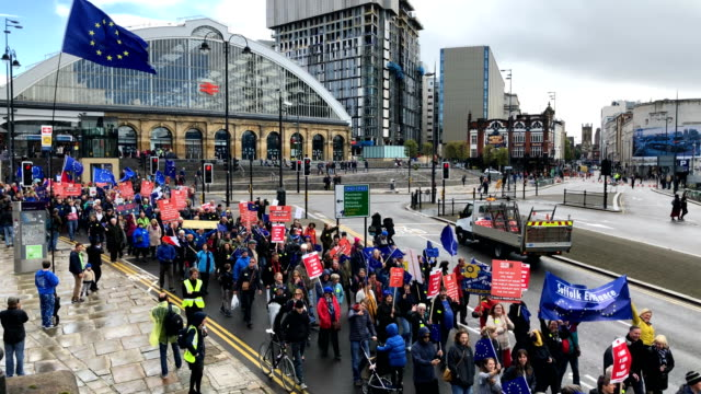 demonstrators on the march for the many on september 23 2018 in liverpool england the march for the many is calling for a people's vote on the final... - political party stock videos & royalty-free footage