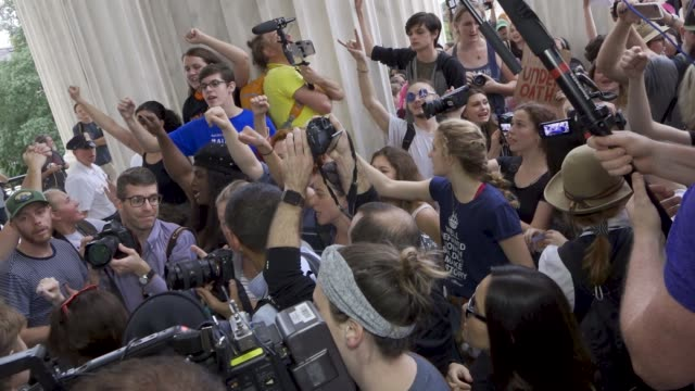 demonstrators overrun police and barricades and hundreds rush to the steps of the supreme court in protest of the confirmation of associate justice... - us supreme court building stock videos and b-roll footage