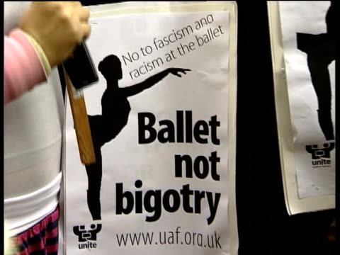 demonstrators protest against simone clarke of the english national ballet england london london coliseum ext general views and close ups of small... - london coliseum stock videos and b-roll footage