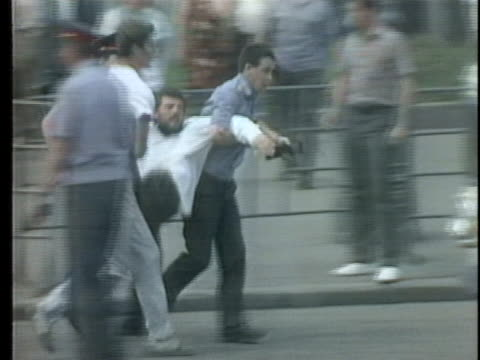 demonstrators protest as moscow prepares for party conferences. - ex unione sovietica video stock e b–roll