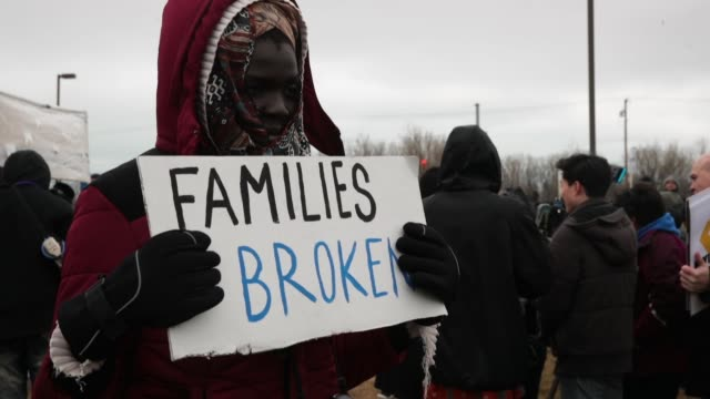 demonstrators protest deportations at garychicago airport on february 23 2018 in gary indiana immigrants from wisconsin indiana and illinois are... - deportation stock videos and b-roll footage