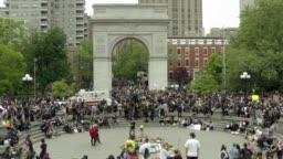 demonstrators protest killing of George Floyd in New York City