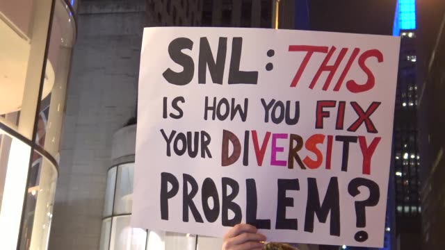 Demonstrators protesting outside of the NBC Rainbow Room on Rockefeller Plaza / The ANSWER Coalition and the NYS Youth Leadership Council sponsored a...