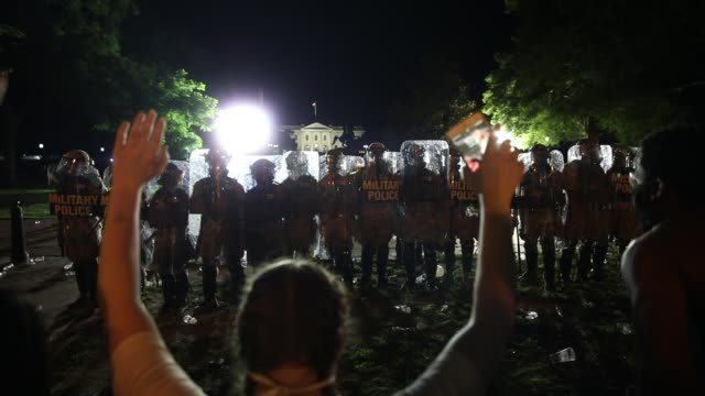 demonstrators shout hands up don't shoot during a protest near lafayette square park on may 30 2020 in washington dc across the country protests were... - lafayette square washington dc stock videos & royalty-free footage