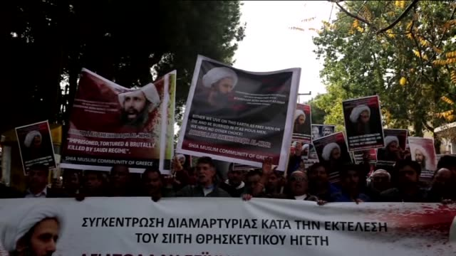 demonstrators shout slogans during a protest against the execution of prominent saudi shia cleric nimr baqir alnimr by saudi authorities in athens... - shi'ite islam stock videos & royalty-free footage