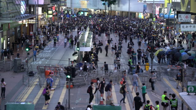 demonstrators take part in an anti-extradition protest on july 28, 2019 in hong kong, china. pro-democracy protesters have continued weekly rallies... - barricade stock videos & royalty-free footage