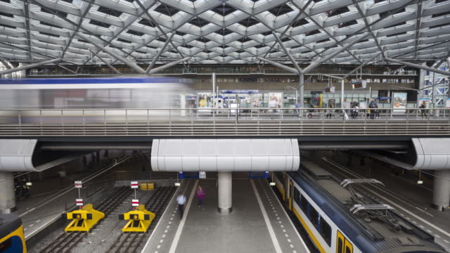 Den Haag Centraal railway station in the Netherlands.
