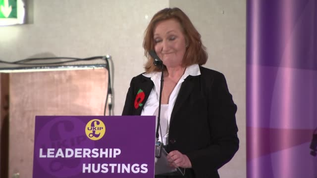 UKIP denies misspending EU funds West Midlands Wolverhampton Suzanne Evans arriving and being introduced onto stage at hustings SOT Suzanne Evans...