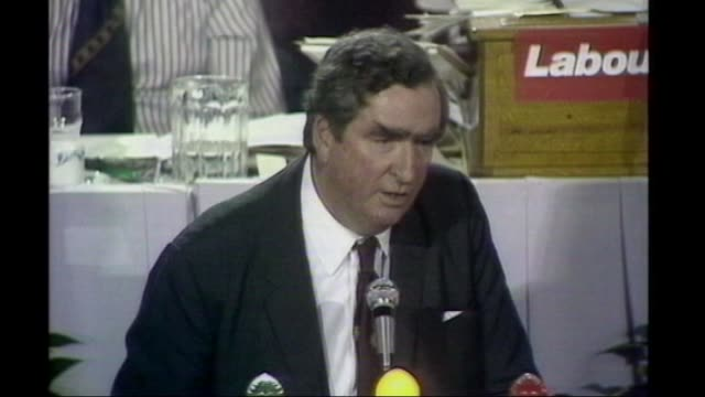 denis healey dies aged 98 t30097602 / tx int denis healey mp speech at labour party conference sot i'm going to negotiate with the imf high angle... - denis healey stock videos & royalty-free footage