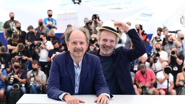 """denis podalydes and arnaud desplechin attend the """"tromperie"""" photocall during the 74th annual cannes film festival on july 13, 2021 in cannes, france. - photo call stock videos & royalty-free footage"""