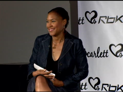 denise kaigler/ head of global public relations and communications reebok she introduces herself and talks about the heat at the press conference to... - scarlett johansson stock videos and b-roll footage