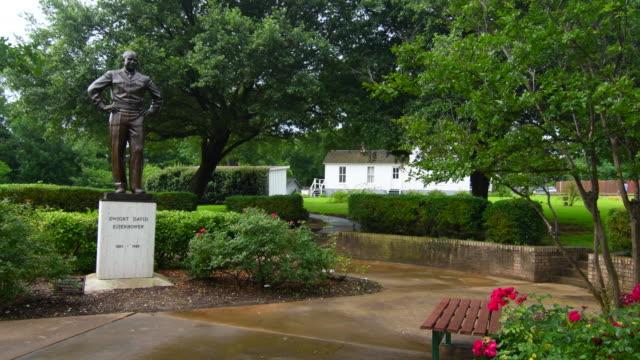 Denison Texas historical birthplace home of President Dwight Eisenhower statue in garden white, Ike, US President