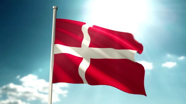vídeos y material grabado en eventos de stock de bandera de dinamarca loopable - danish flag