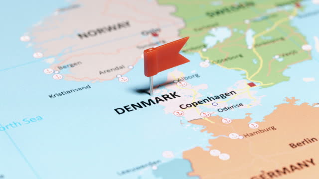 denmark with pin - copenhagen video stock e b–roll