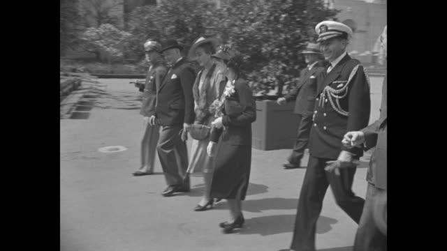 vs denmark's crown prince frederick and crown princess ingrid at new york world's fair site with entourage men wearing naval uniforms / note exact... - crown prince stock videos & royalty-free footage