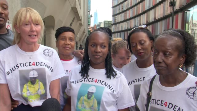 Jahmel Riley sentenced ENGLAND London Old Bailey EXT Leeanne Manzi and other family members speaking to press SOT Various shots of family members of...