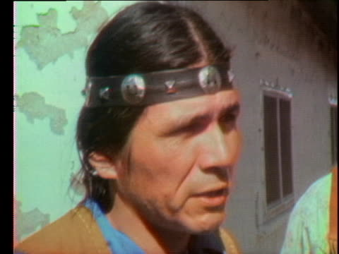 dennis banks of the american indian movement speaks in an interview about the stand-off at wounded knee. - 1973 stock videos & royalty-free footage